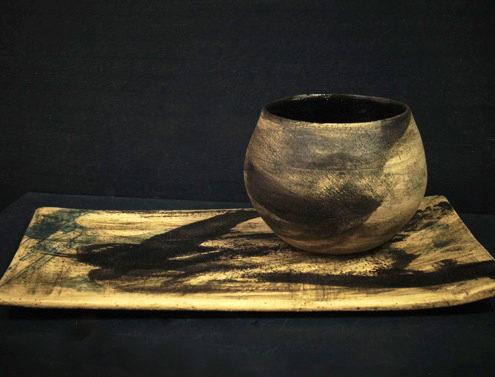 Atelier Elsa Dinerstein design et métiers d'art tasse en grès tourné pièce unique décor pictural contemporain