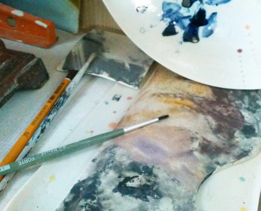 savoir-faire, elsa dinerstein studio, palette, peint-main, design exclusif, pinceaux, oxydes, colorants de masse